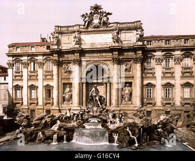 Trevi Fountain is a fountain in the Trevi district in Rome, Italy, designed by Italian architect Nicola Salvi and - Stock Photo