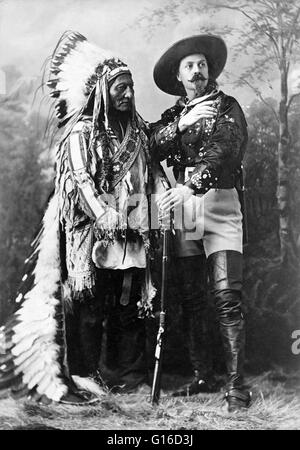 Sitting Bull and Buffalo Bill, taken by William Notman studios, Montreal, Quebec, Canada, during Buffalo Bill's - Stock Photo