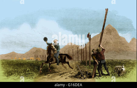Entitled: 'Pony express rider riding by men stringing telegraph wires from a painting by George M. Ottinger.' The - Stock Photo