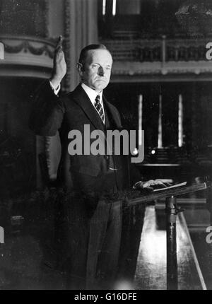 President Coolidge making his speech of acceptance, 1924. John Calvin Coolidge, Jr. (July 4, 1872 - January 5, 1933) - Stock Photo