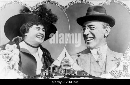 Woodrow Wilson and Edith Bolling Galt portraits cut in the shape of overlapping hearts with rose border; drawing - Stock Photo