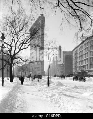 The Flatiron Building, originally the Fuller Building, is located at 175 Fifth Avenue in the borough of Manhattan, - Stock Photo