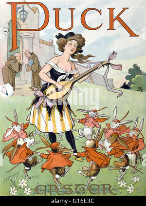 Entitled: 'Easter Puck'. Chromolithograph shows a young woman playing a lute as a group of rabbit cavaliers dance - Stock Photo