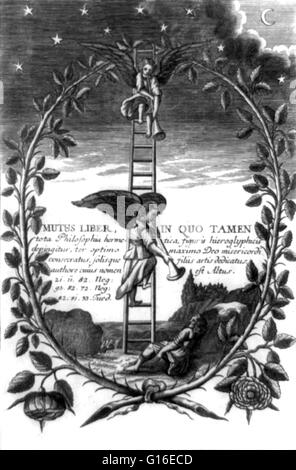 Entitled: 'Mutus liber, in quo tamen.' Shows angels descending Jacob's ladder blowing trumpets with sleeping Jacob - Stock Photo