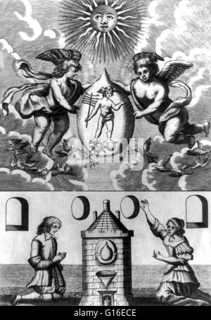 Entitled: 'Alchemical scene showing two putti holding philosopher's stone containing image of Hermes, below which - Stock Photo