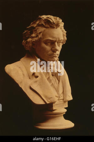 Bust statue by Hugo Hagen, based on life mask by Franz Klein done in 1812. Ludwig van Beethoven (baptized December - Stock Photo
