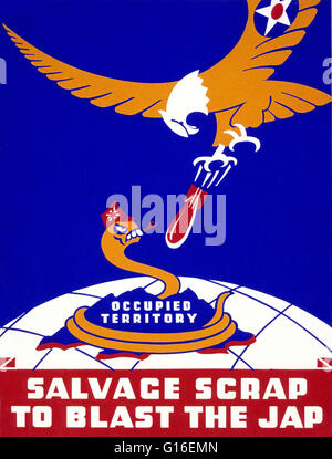 Entitled: 'Salvage scrap to blast the jap'. Poster for Thirteenth Naval District, United States Navy, showing a - Stock Photo