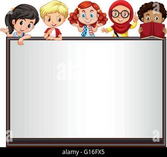 International children on whiteboard illustration - Stock Photo