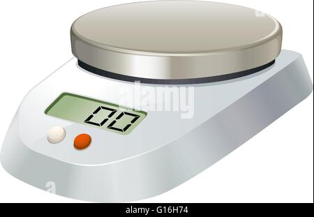 Lab scale with metal plate illustration - Stock Photo