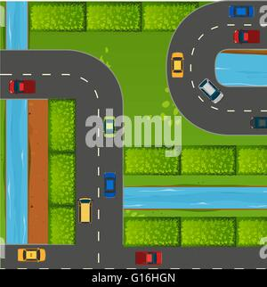 Top view of cars on roads illustration - Stock Photo
