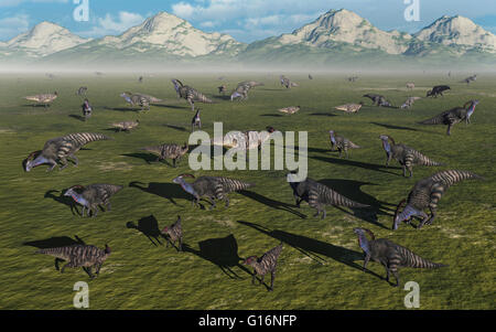 A Herd Of Parasaurolophus . - Stock Photo