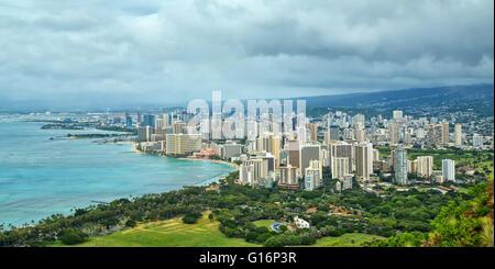 Panoramic view of Waikiki and Honolulu as seen from Diamond Head - Stock Photo