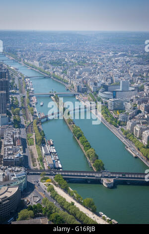 Aerial view looking southwest over the River Seine, taken from the top of the Eiffel Tower in Paris, France - Stock Photo