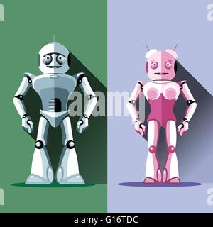 Two silver and pink humanoid robots, male and female. Digital background vector illustration - Stock Photo