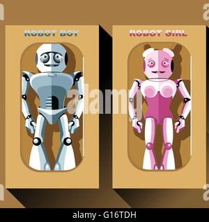 Two silver and pink humanoid robots in boxes, male and female. Digital background vector illustration - Stock Photo