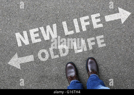 Old new life future past goals success decision change decide choice - Stock Photo