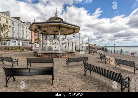 View on the Victorian Band Stand in Kennedy Park, along the esplanade, Cork, County Cork, Munster Province, Republic - Stock Photo