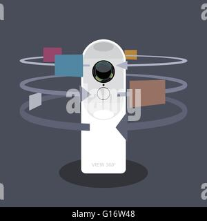 A white 360 degree camera video recorder with apps and functions icons, digital vector image - Stock Photo