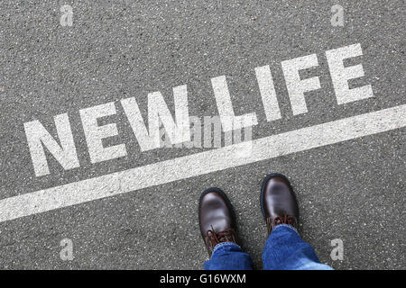 New life beginning beginnings future past goals success decision change decide - Stock Photo