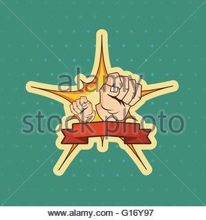 Fist cartoon illustration background - Stock Photo