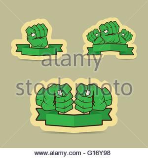 Human fist green cartoon illustration - Stock Photo