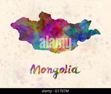 Mongolia in watercolor - Stock Photo