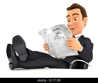 3d businessman reading newspaper with feet on desk, isolated white background - Stock Photo