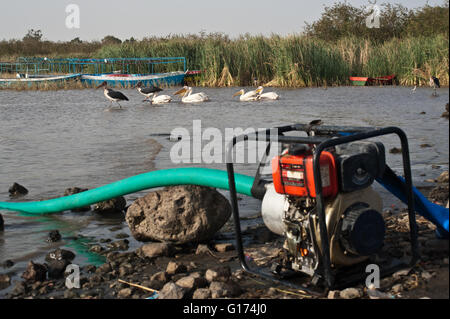 Electric water pump + birds and tourist boats in the background. Lake ZIway ( Ethiopia) - Stock Photo
