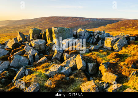 Dog Crag on Brennand Great Hill in the Bowland Fells near Lancaster Lancashire England looking towards Ward's Stone - Stock Photo