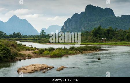 Landscape of Nam Song River at Vang Vieng, Laos - Stock Photo