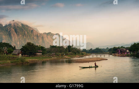 Landscape of Nam Song River in morning, Vang Vieng, Laos - Stock Photo