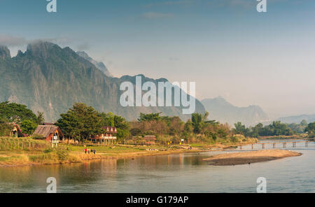 Landscape of Nam Song River in morning ,Vang Vieng, Laos - Stock Photo