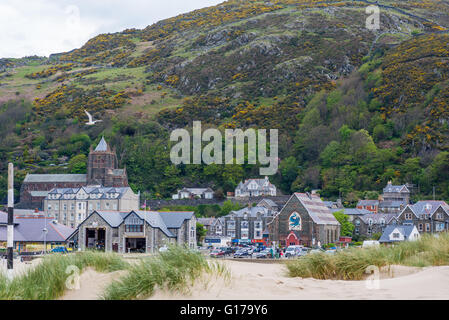 A view from the beach in Barmoth North Wales - Stock Photo
