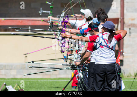 Sofia, Bulgaria - April 16, 2016: People are shooting with bows during un open archery competition. - Stock Photo