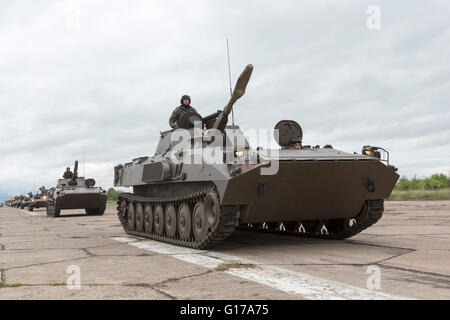 Sofia, Bulgaria - May 4, 2016: Soldiers from the Bulgarian army are preparing for a parade for Army's day. They - Stock Photo