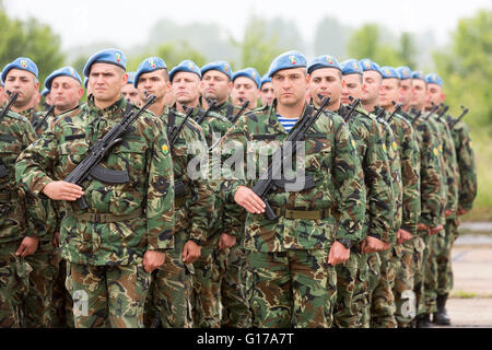 Sofia, Bulgaria - May 4, 2016: Soldiers from the Bulgarian army are preparing for a parade for Army's day in uniforms - Stock Photo