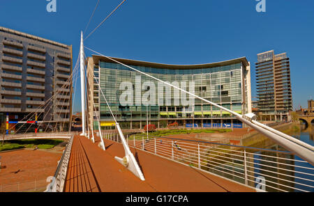 The Lowry Hotel and Trinity Bridge over the River Irwell, City of Salford, Greater Manchester, England - Stock Photo