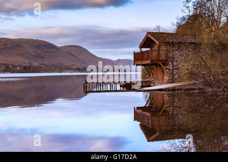 Boathouse on Ullswater near Pooley Bridge at Dawn - Stock Photo