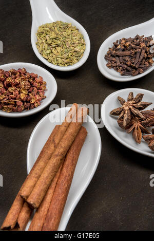 Five Spice Spoon Circle Cinnamon in foreground - Stock Photo