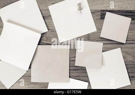 Blank Memos On A Wood Tabletop Stock Photo, Royalty Free Image