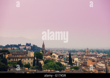 View of Florence in rainy foggy morning from Piazzale Michelangelo