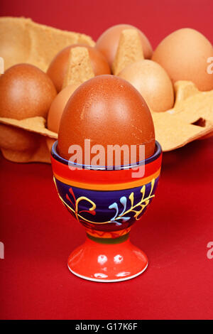A boiled egg in an eggcup with a carton of eggs to the rear. - Stock Photo