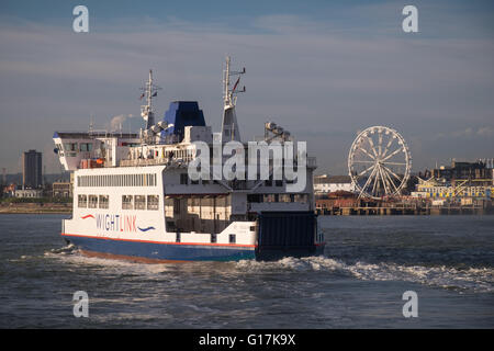 The Wightlink car ferry, St. Cecilia, passing Clarence Pier as she enters Portsmouth Harbour. - Stock Photo