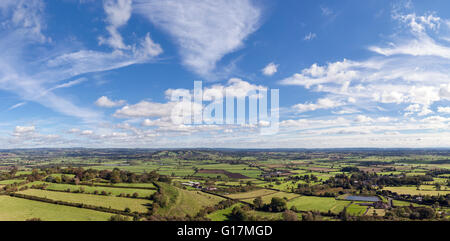 Panoramic view of the  Somerset Levels from the top of Glastonbury Tor - Stock Photo