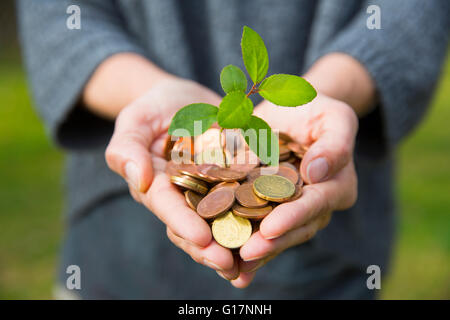 Front view of womans cupped hands holding tree seedling growing from coins - Stock Photo