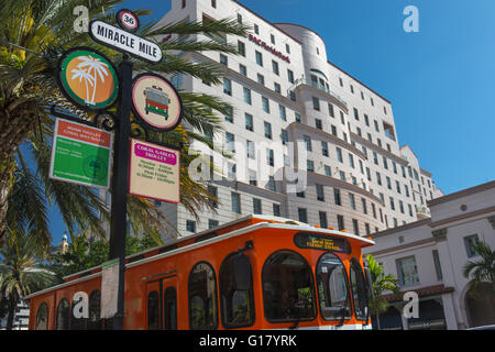 MIRACLE MILE TROLLEY STOP CORAL GABLES FLORIDA USA - Stock Photo