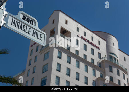 MIRACLE MILE STREET SIGN CORAL GABLES FLORIDA USA - Stock Photo