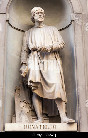 Statue of Donatello, Italian sculptor, in courtyard, Uffizi Gallery Museum, Piazzale Degli Uffizi, Florence, Tuscany, - Stock Photo