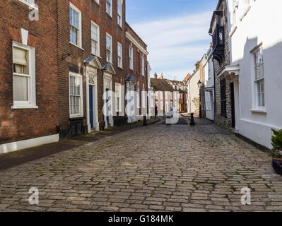 Cobbled Street in Poole Old Town, Dorset, UK - Stock Photo