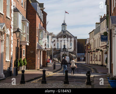 Market Street and The Guildhall in Poole Old Town, Dorset, UK - Stock Photo